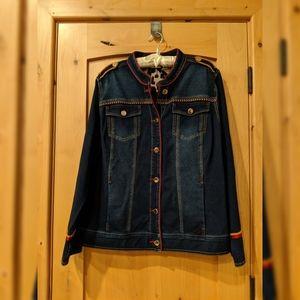 Chico's zenergy denim jacket red/gold trim sz 3